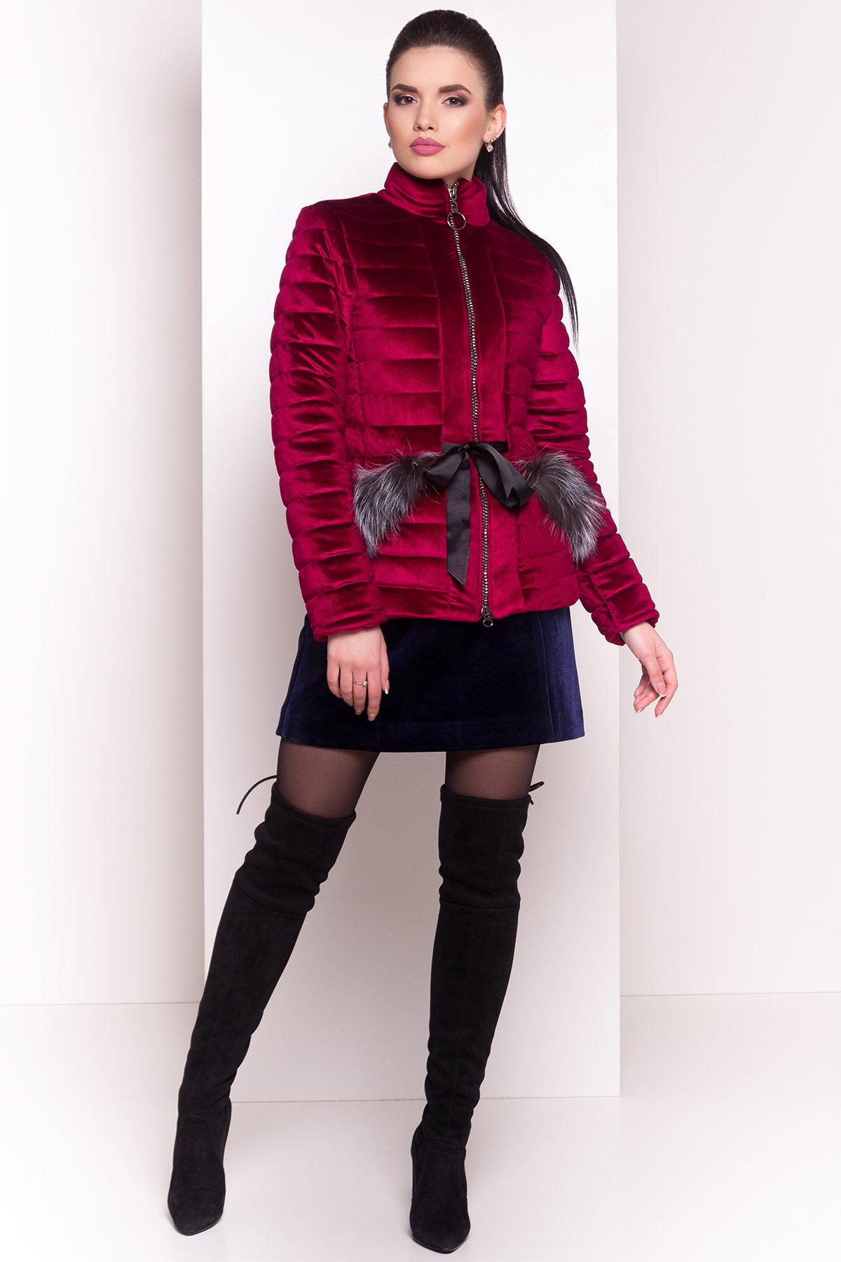 Куртка с мехом на карманах Дезире 4452 АРТ. 21637 Цвет: Марсала - фото 6, интернет магазин tm-modus.ru