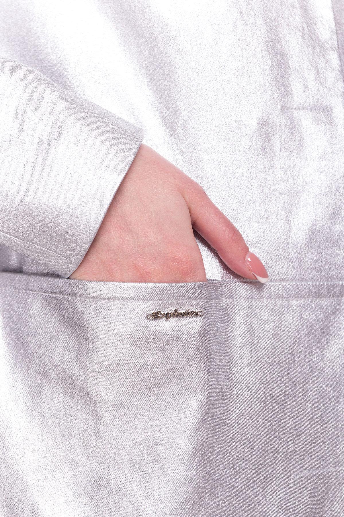 Плащ с прорезными карманами Миледи 4672 Цвет: Серебро