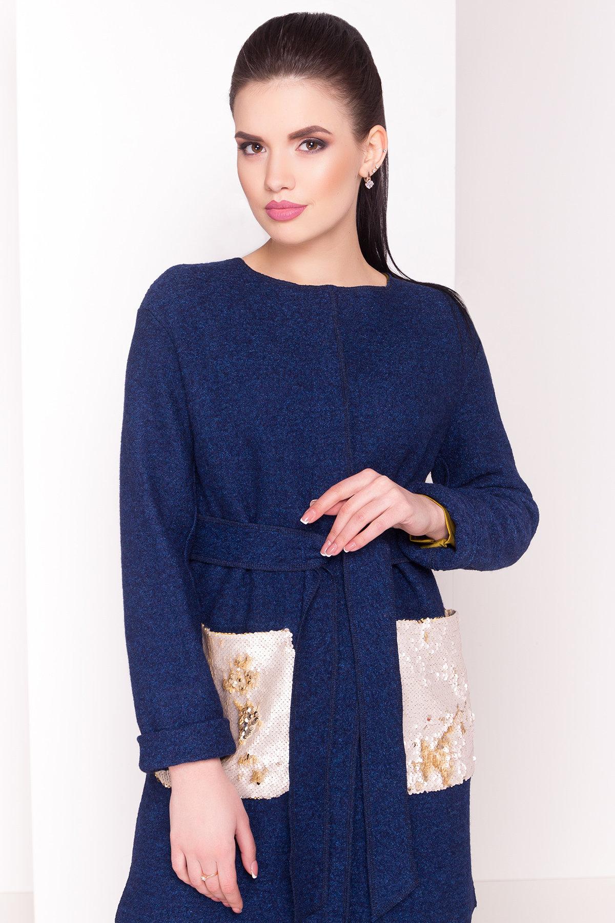 Кардиган с накладными карманами Нуар 4731 Цвет: Темно-синий/электрик-LW27