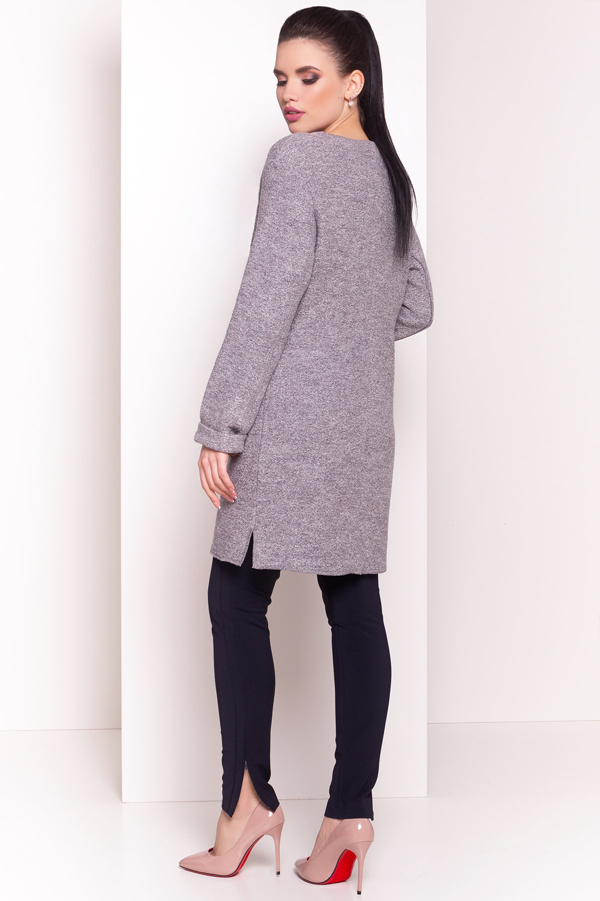 Кардиган с накладными карманами Нуар 4731 Цвет: Серый Светлый LW-10