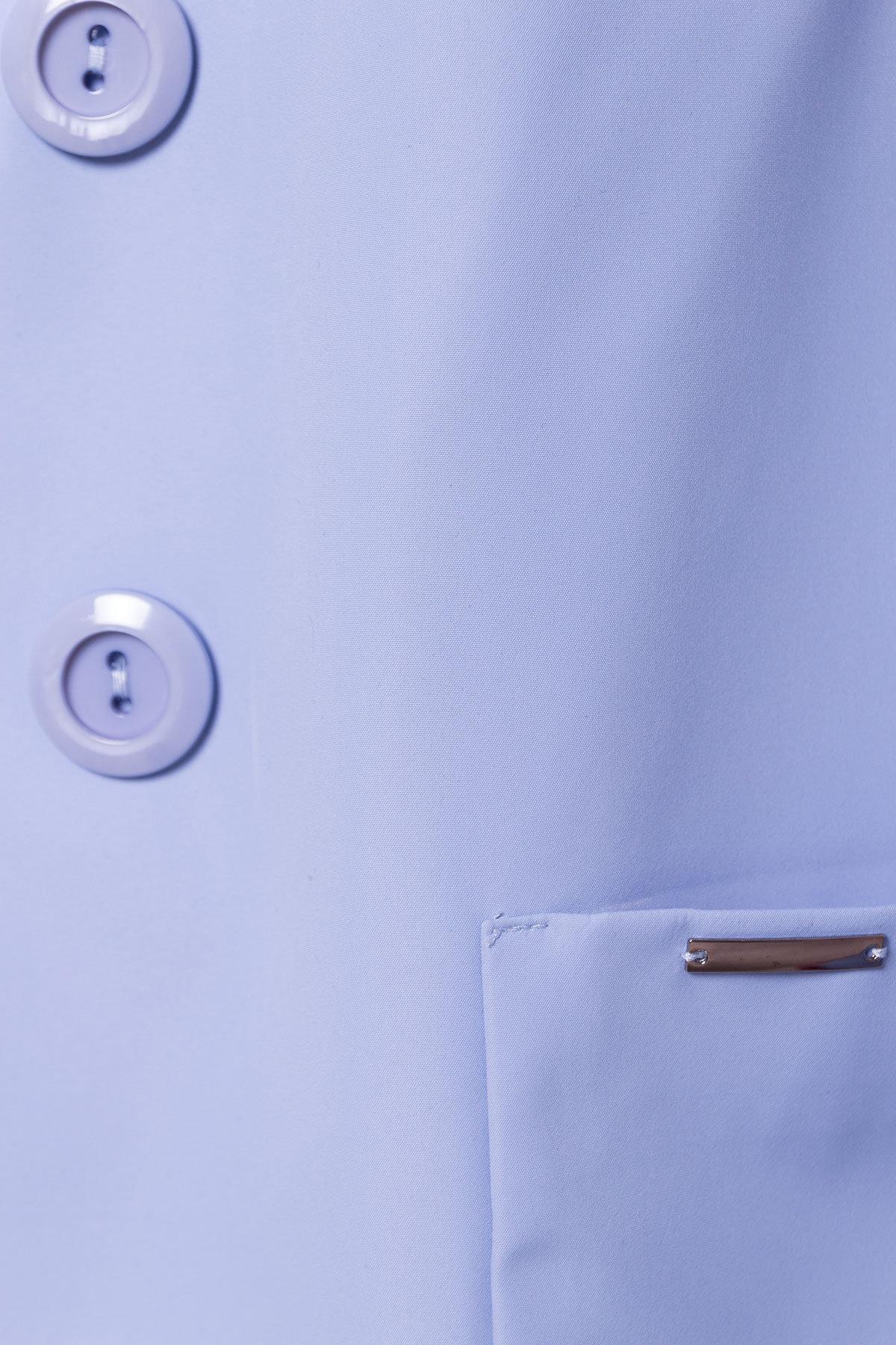 Плащ с накладными карманами Миссони 2087 АРТ. 13632 Цвет: Голубой - фото 6, интернет магазин tm-modus.ru