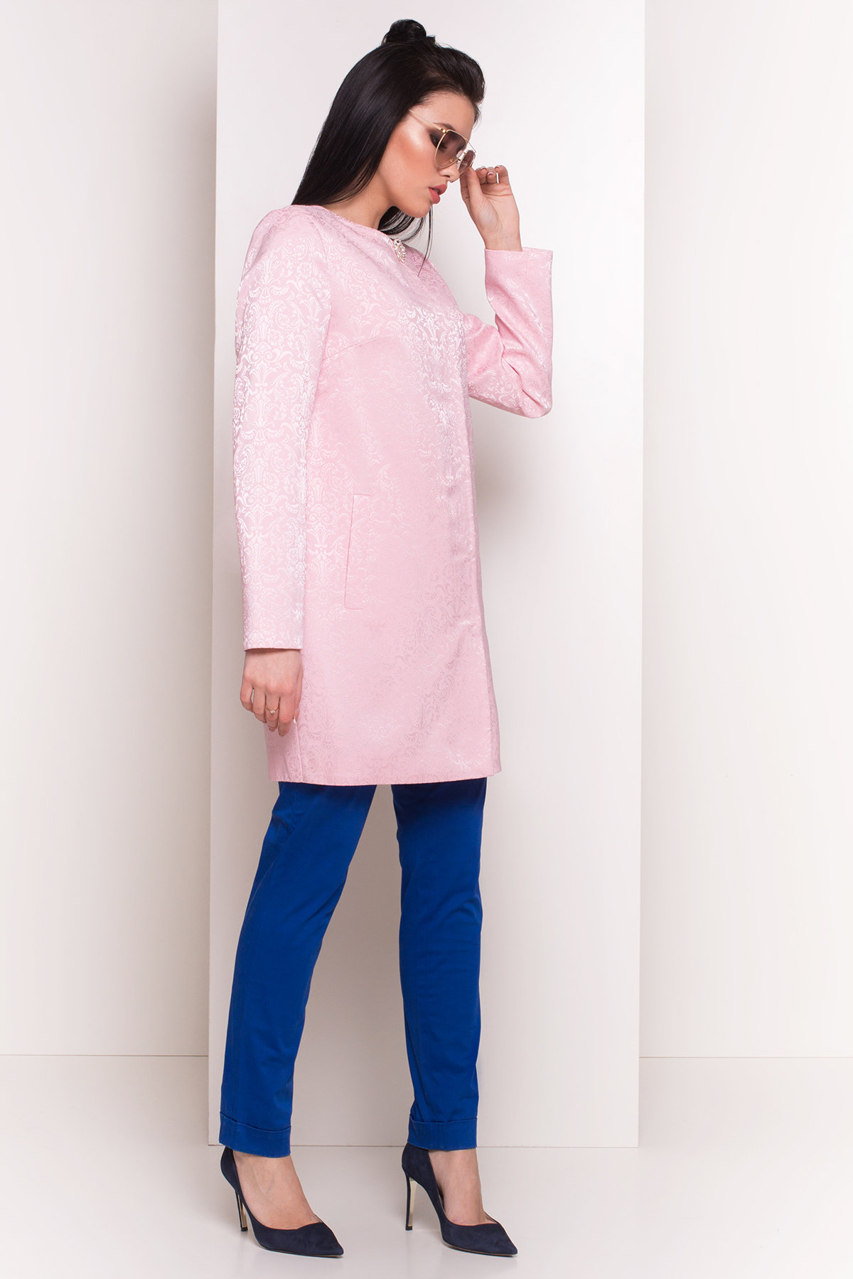 Свободный плащ со скрытой застежкой Фабио 4700 АРТ. 33838 Цвет: Розовый - фото 2, интернет магазин tm-modus.ru