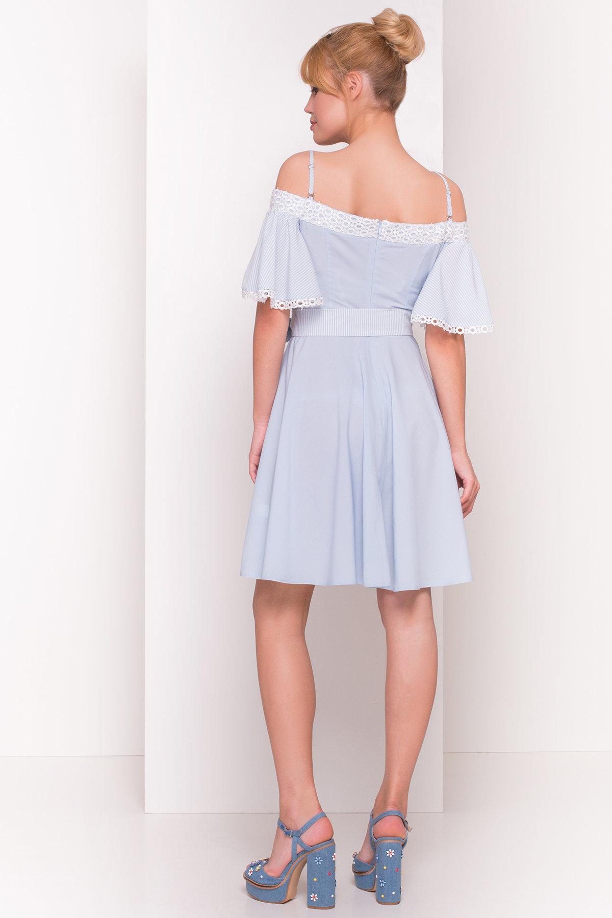 Платье Виолетта 4984 Цвет: Голубой/ молоко горох