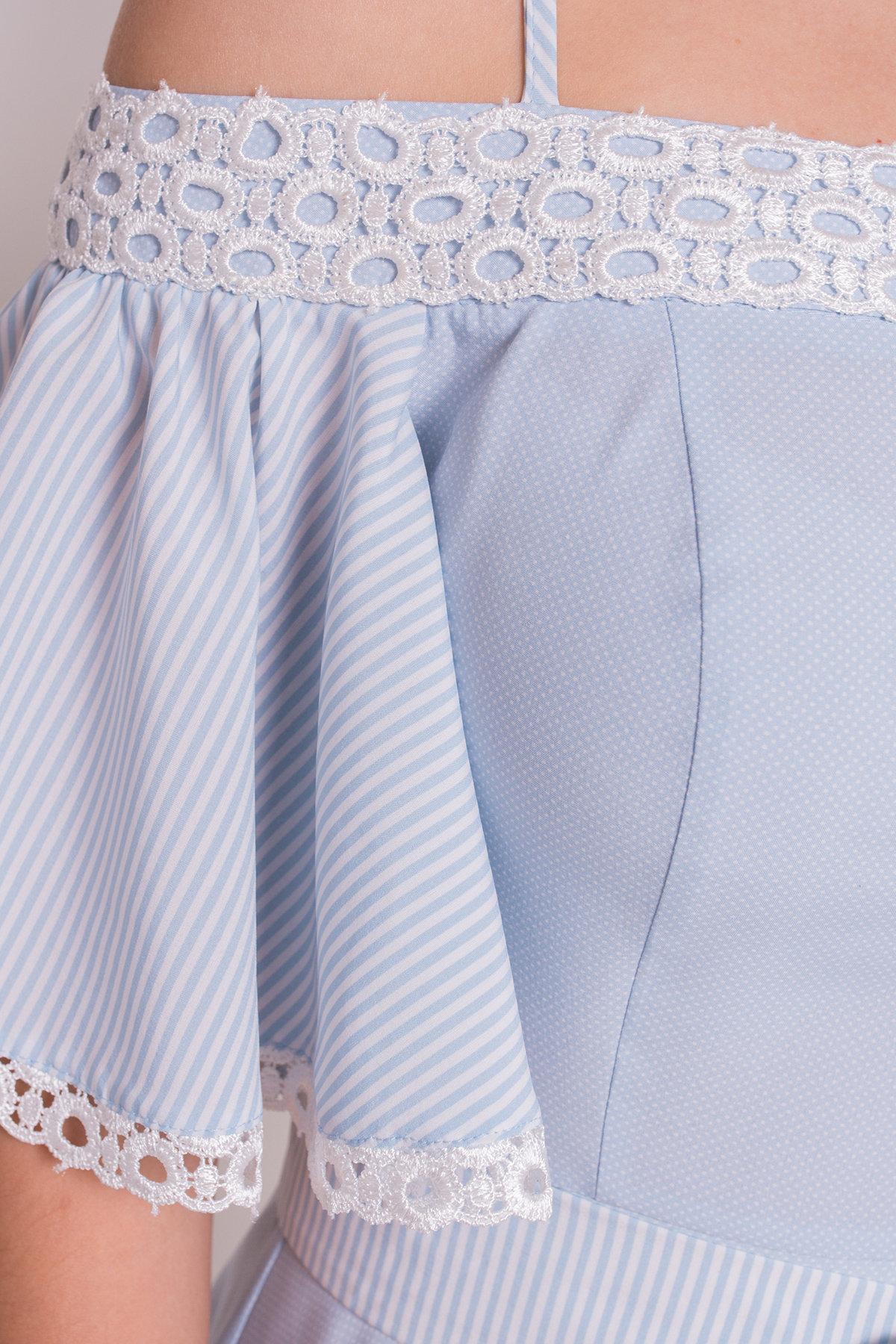 Платье Виолетта 4984 АРТ. 35583 Цвет: Голубой/ молоко горох - фото 4, интернет магазин tm-modus.ru
