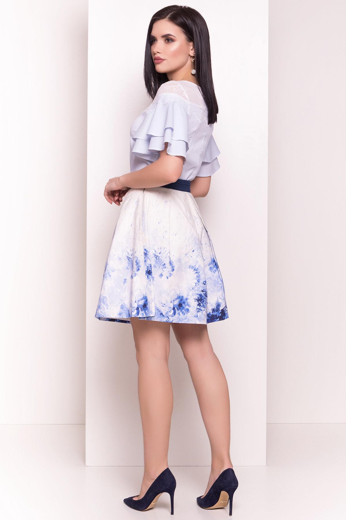 Блуза Ириска 4962 АРТ. 35090 Цвет: Голубой/белый - фото 3, интернет магазин tm-modus.ru