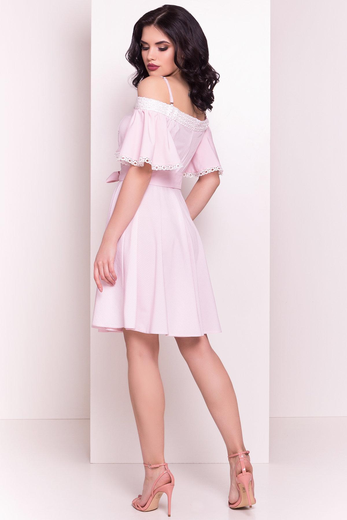 Платье Виолетта 4984 Цвет: Розовый/молоко полоска
