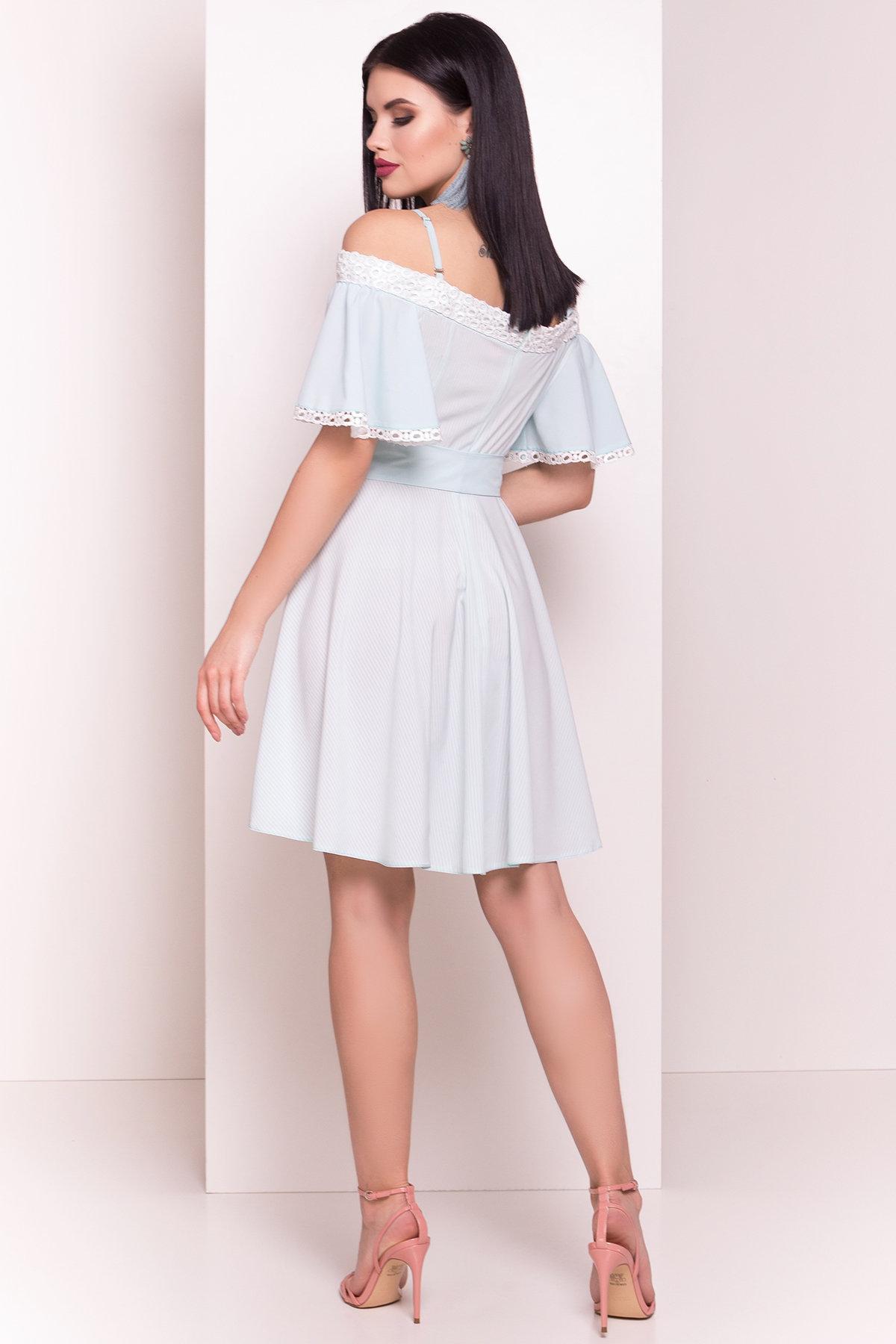 Платье Виолетта 4984 АРТ. 35585 Цвет: Мята/молоко полоска - фото 3, интернет магазин tm-modus.ru