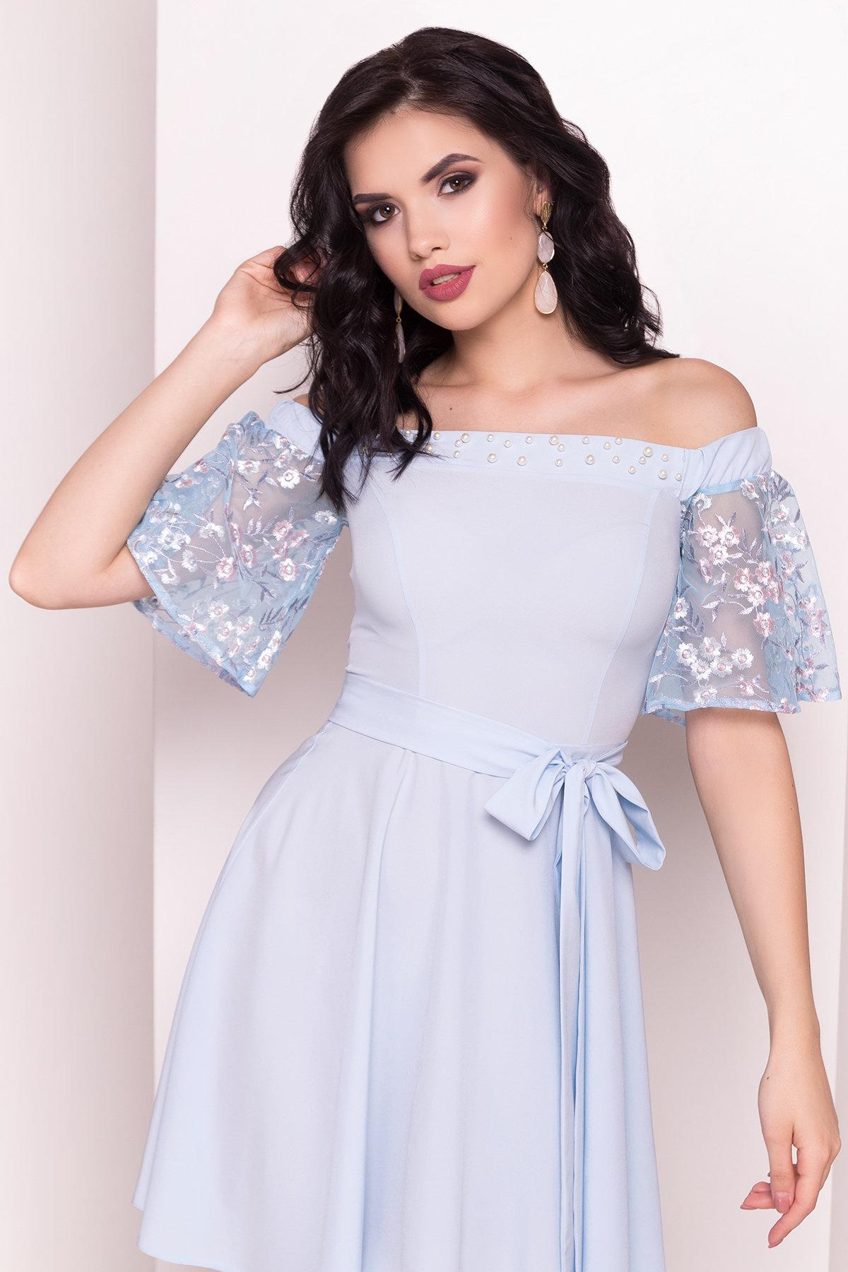 Платье Минхо 4958 АРТ. 35097 Цвет: Голубой - фото 2, интернет магазин tm-modus.ru
