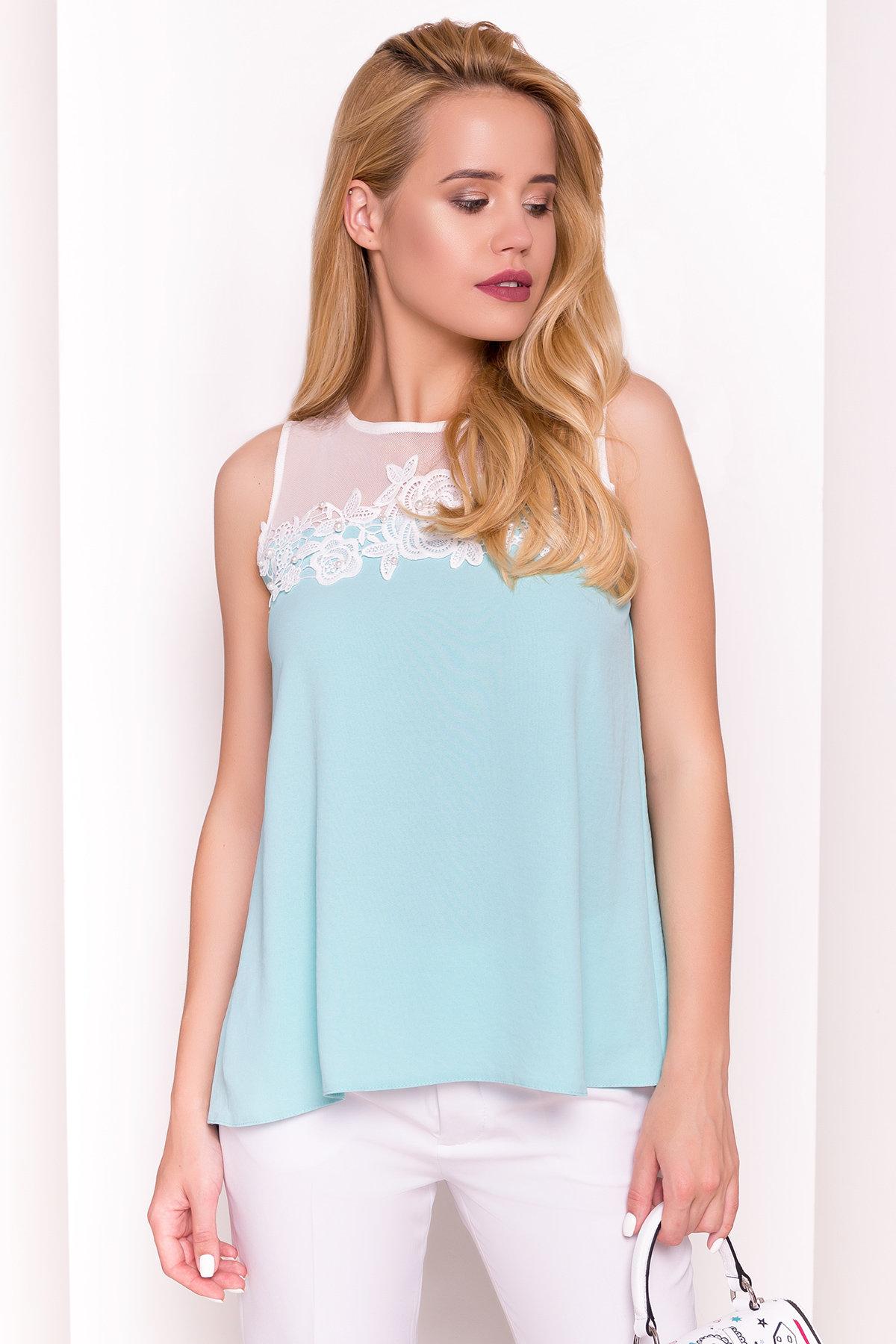 Летняя блуза без рукавов Нелли 4918 Цвет: Мята