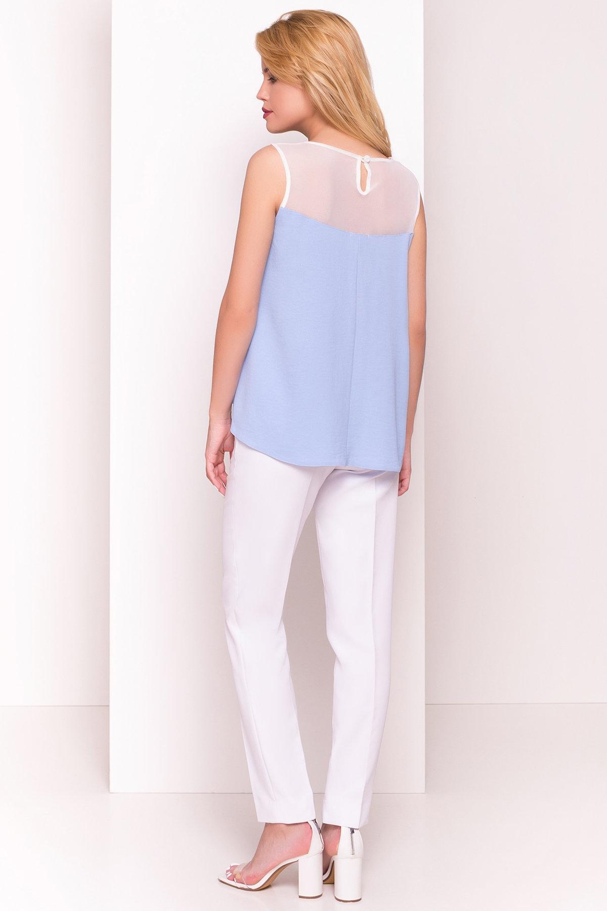 Летняя блуза без рукавов Нелли 4918 Цвет: Голубой