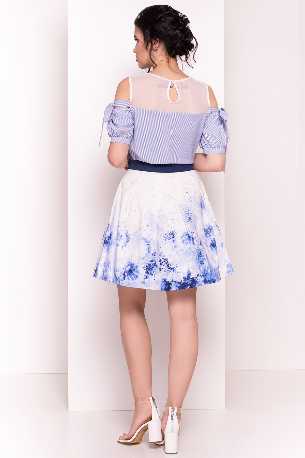 Блуза Океания 5103 Цвет: Темно-синий/белый