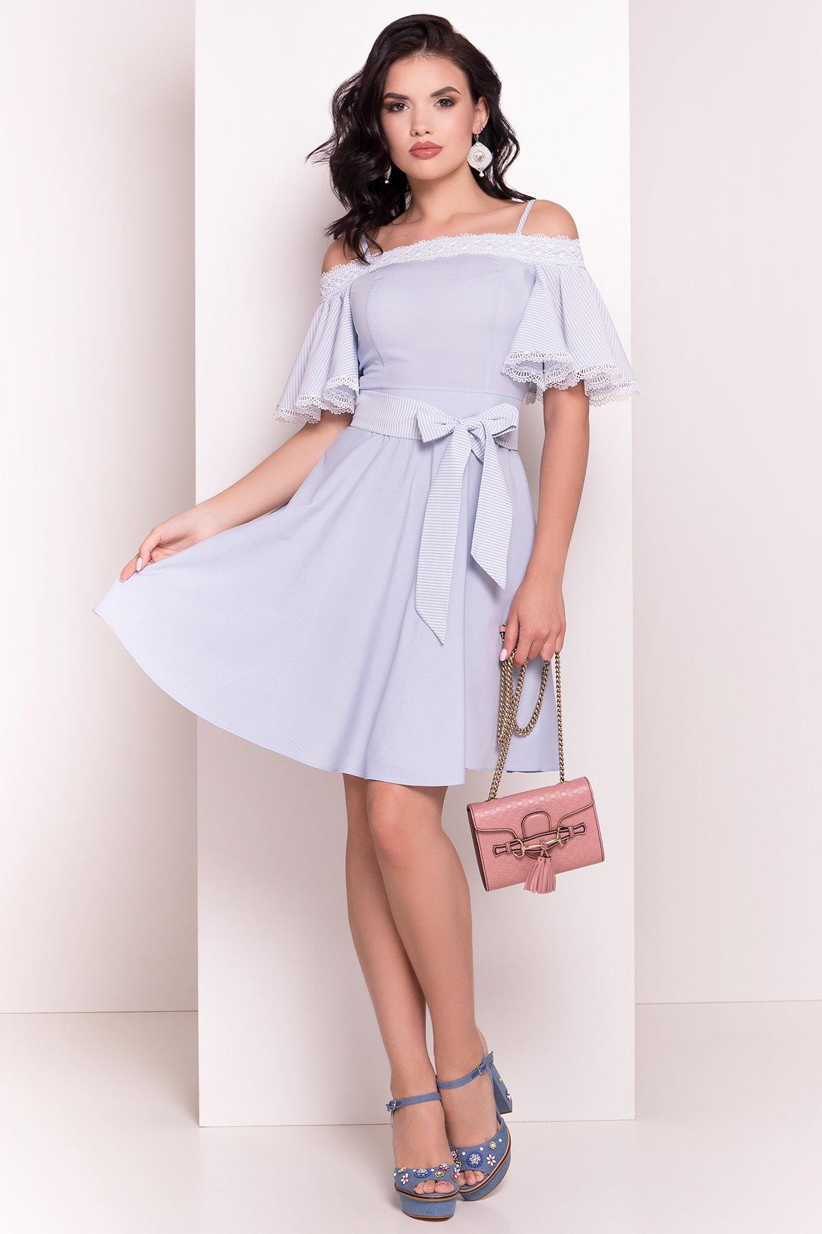 Платье Виолетта 4984 АРТ. 36119 Цвет: Голубой/молоко горох 1 - фото 1, интернет магазин tm-modus.ru