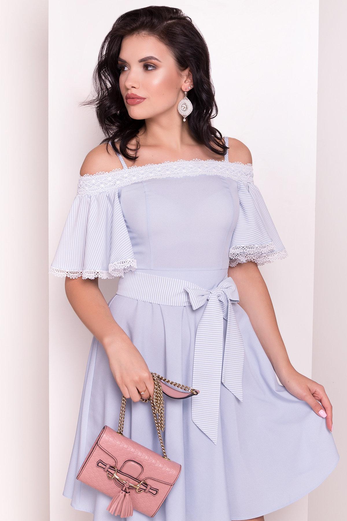 Платье Виолетта 4984 АРТ. 36119 Цвет: Голубой/молоко горох 1 - фото 4, интернет магазин tm-modus.ru