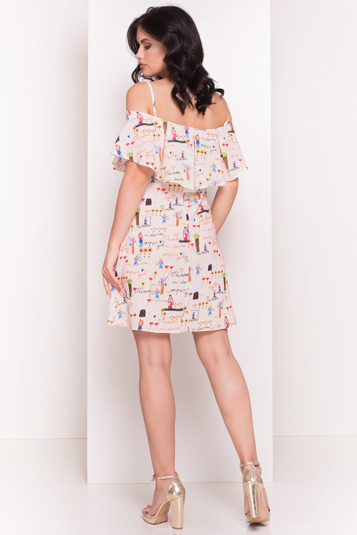 TW Платье Восток 5119 АРТ. 35884 Цвет: Бежевый светлый/детские рисунки - фото 3, интернет магазин tm-modus.ru