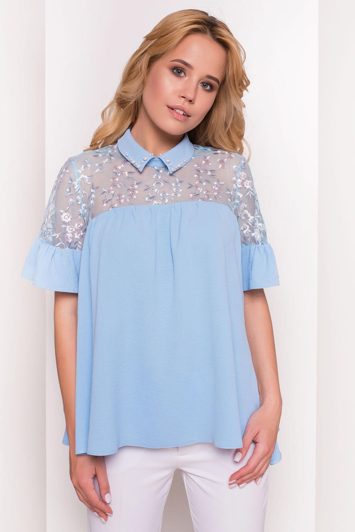 Блуза Джету 5127 АРТ. 35999 Цвет: Голубой - фото 3, интернет магазин tm-modus.ru