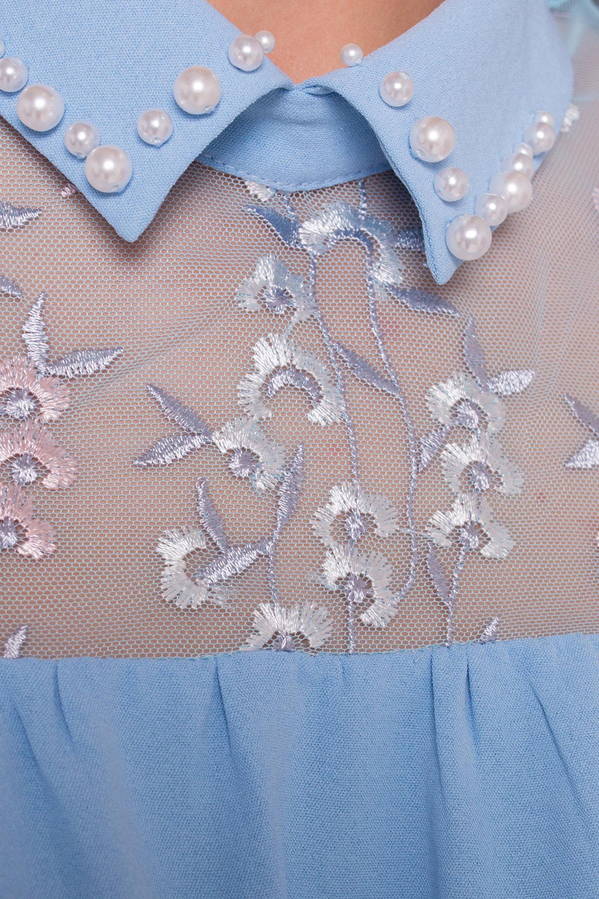 Блуза Джету 5127 АРТ. 35999 Цвет: Голубой - фото 4, интернет магазин tm-modus.ru