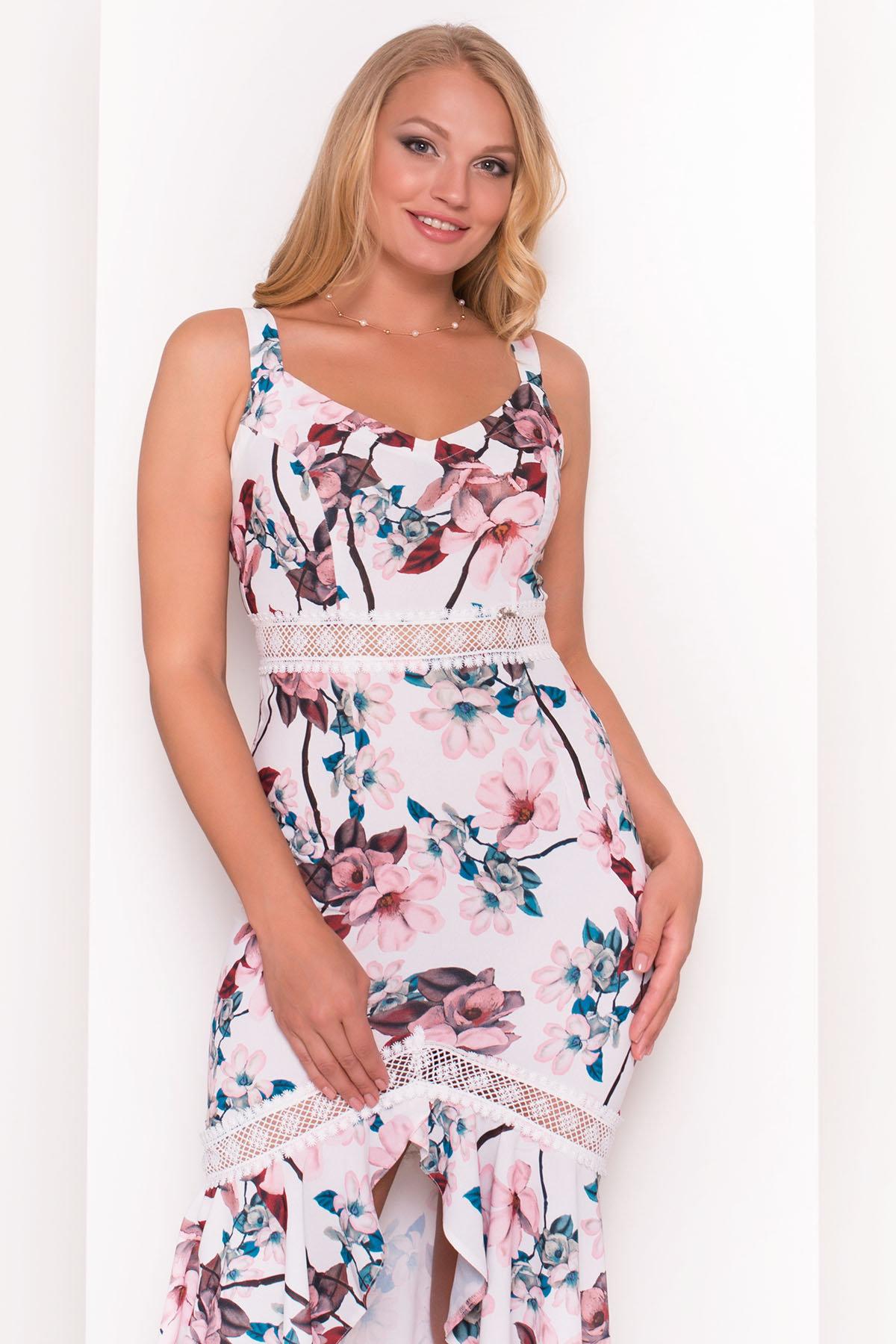 Платье Регина Donna 5102 АРТ. 35777 Цвет: Молоко/персик - фото 3, интернет магазин tm-modus.ru