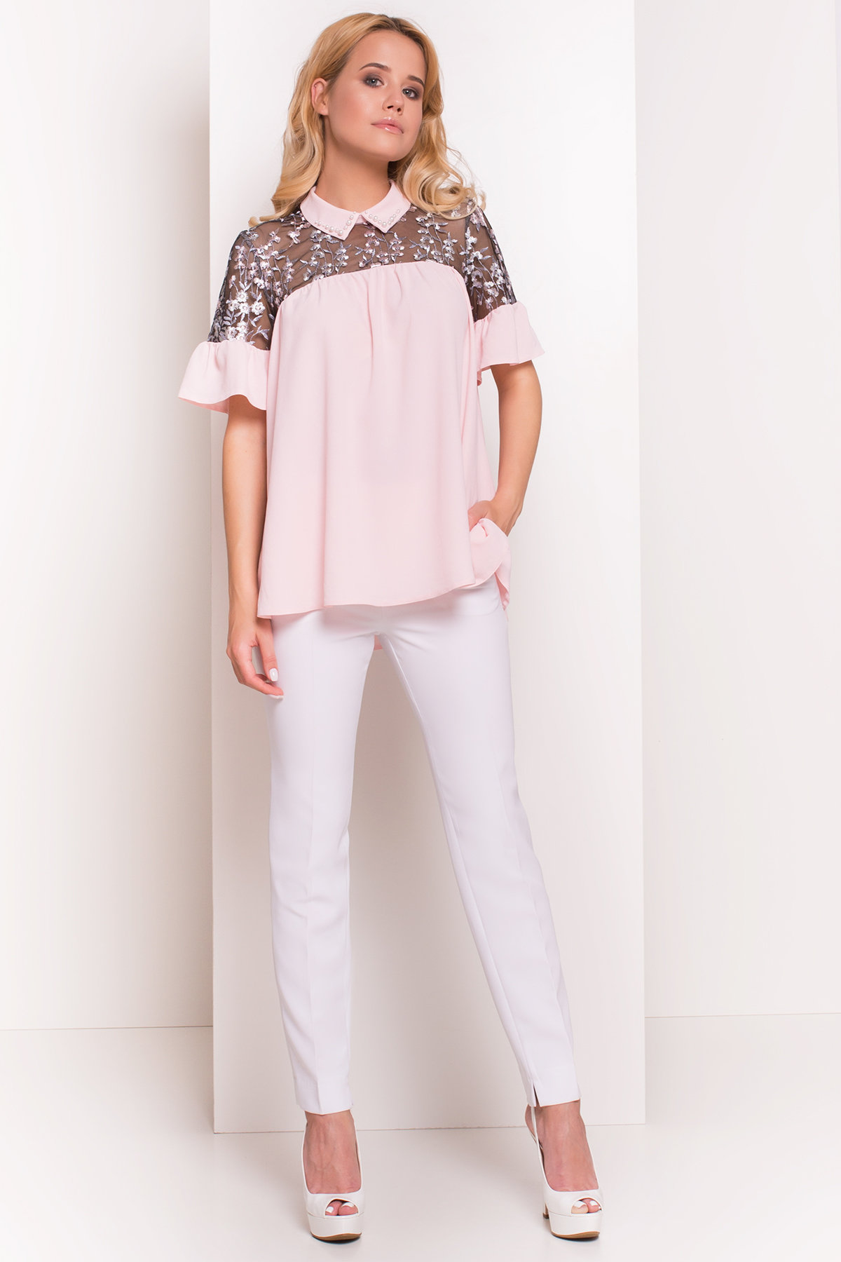 Блуза Джету 5127 АРТ. 36001 Цвет: Розовый Светлый - фото 1, интернет магазин tm-modus.ru