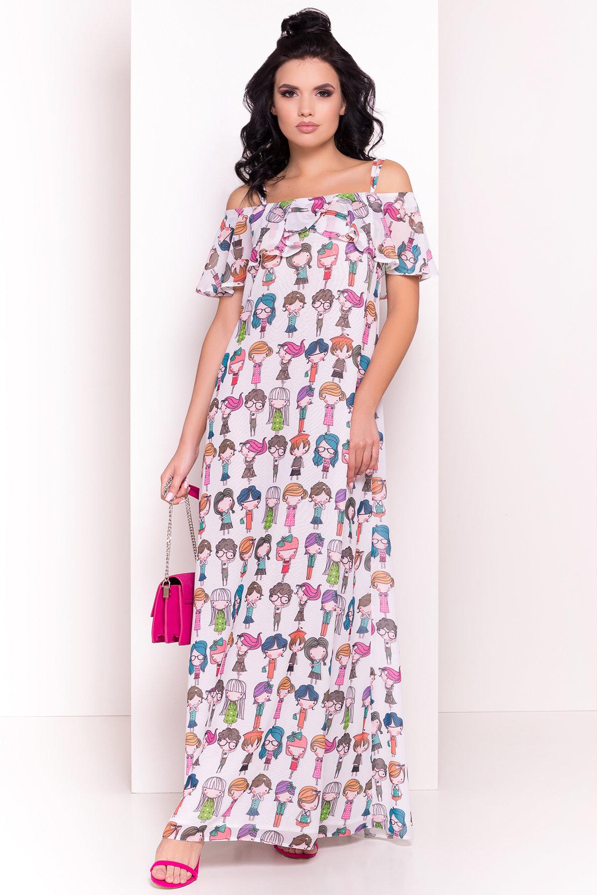 Платье Пикабу 5137 Цвет: Белый/Девушки цветные