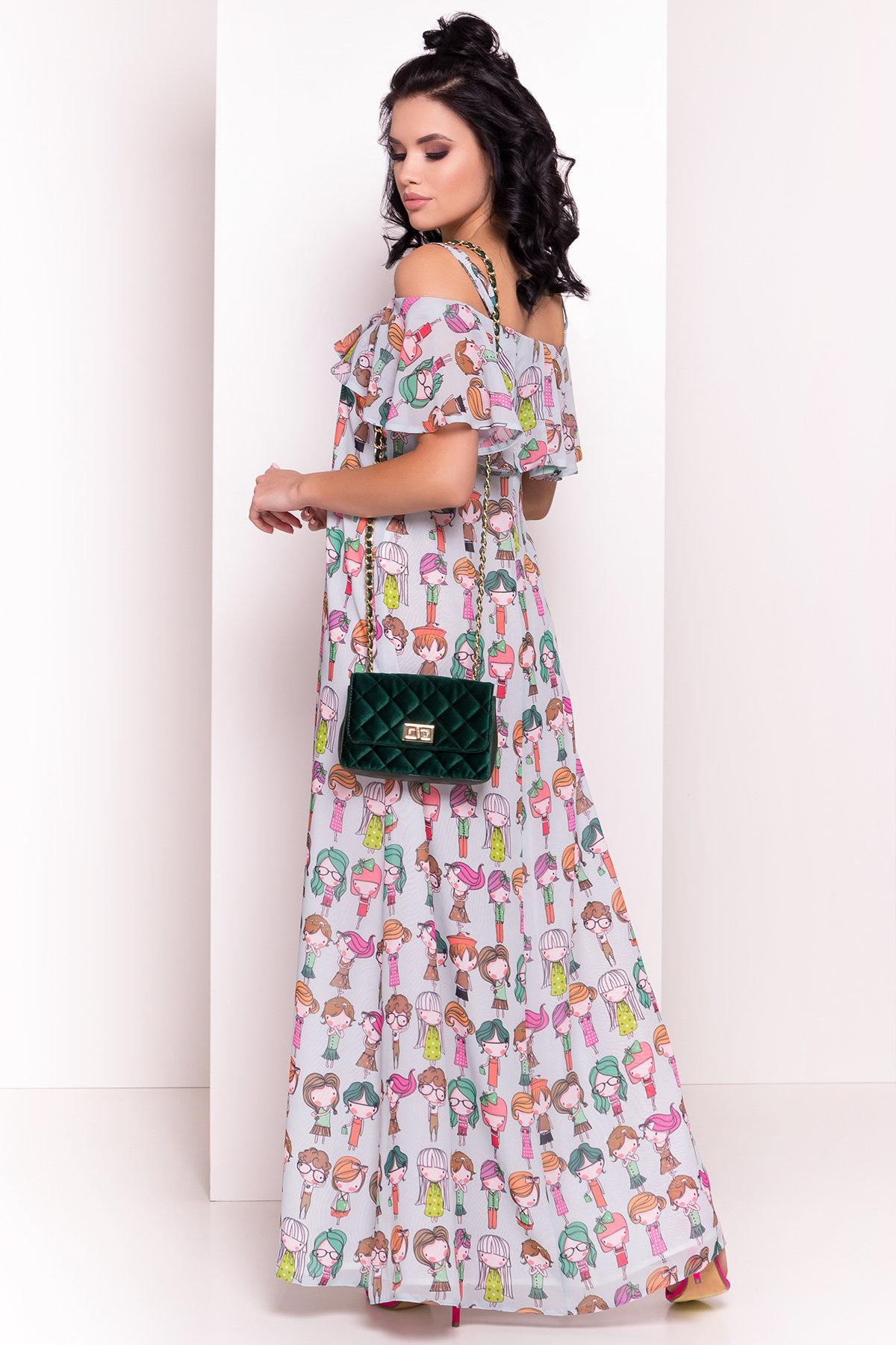 Платье Пикабу 5137 Цвет: Бирюзa/Девушки цветные