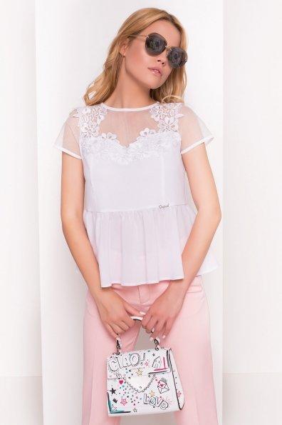 Блуза комбинированная Долликс 5155 Цвет: Белый