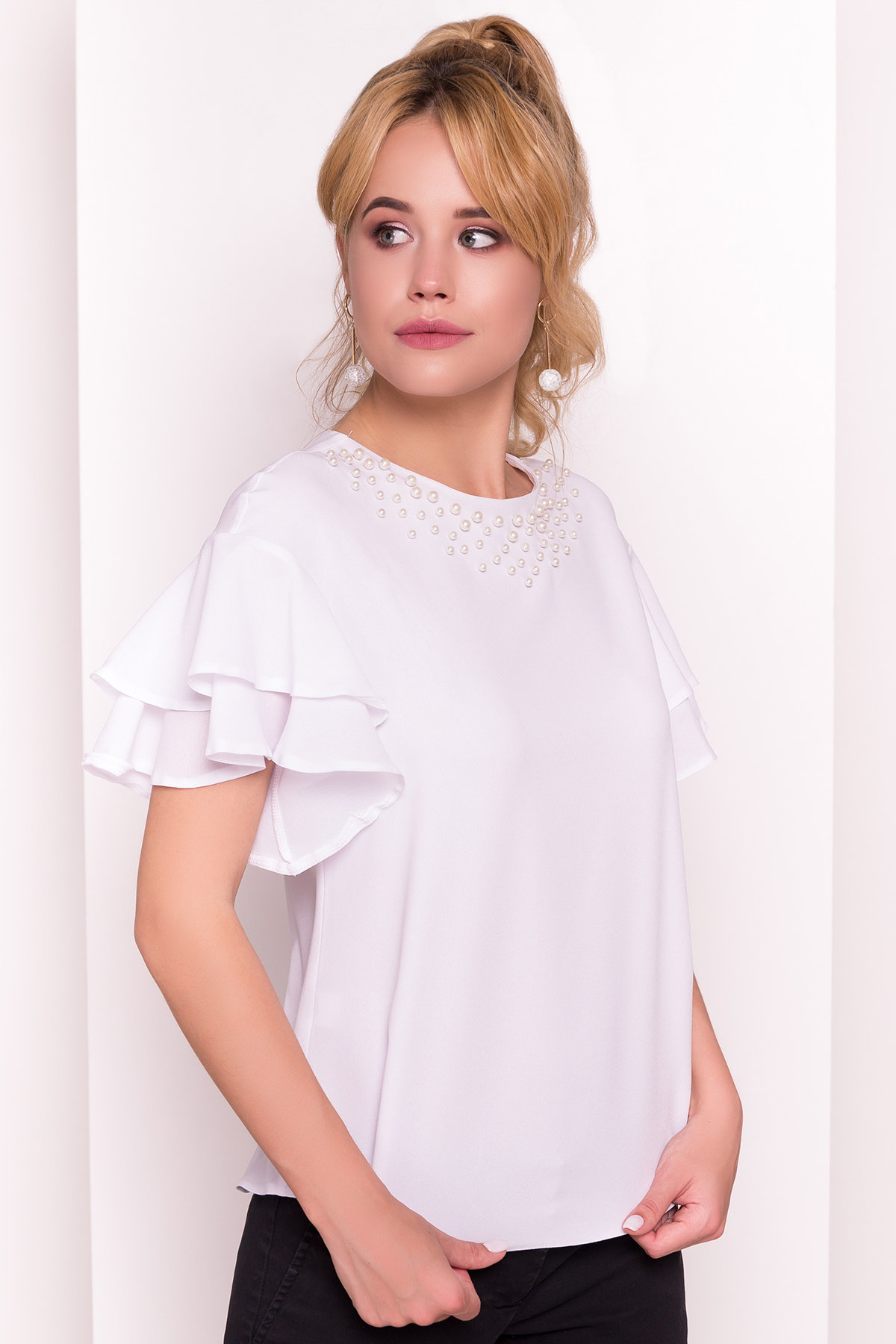 Блуза Мария 4882 АРТ. 35800 Цвет: Белый - фото 2, интернет магазин tm-modus.ru