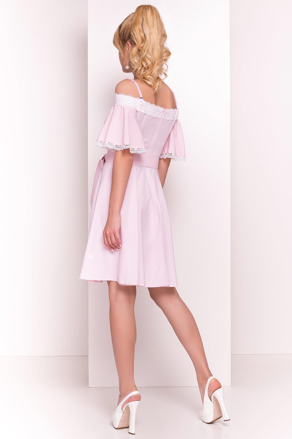 Платье Виолетта 4984 Цвет: Розовый/молоко полоска 1