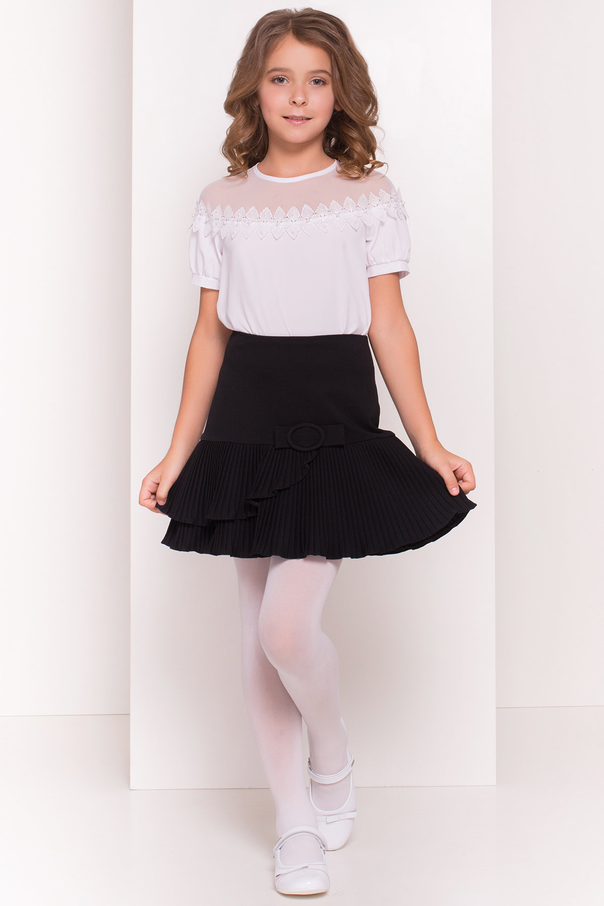 Блуза детская Герда 5197 АРТ. 36284 Цвет: Белый - фото 1, интернет магазин tm-modus.ru