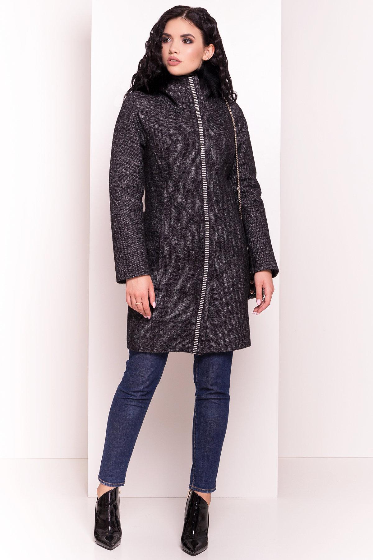 Пальто зима Дакар 4447 АРТ. 5237 Цвет: Черный белый - фото 1, интернет магазин tm-modus.ru