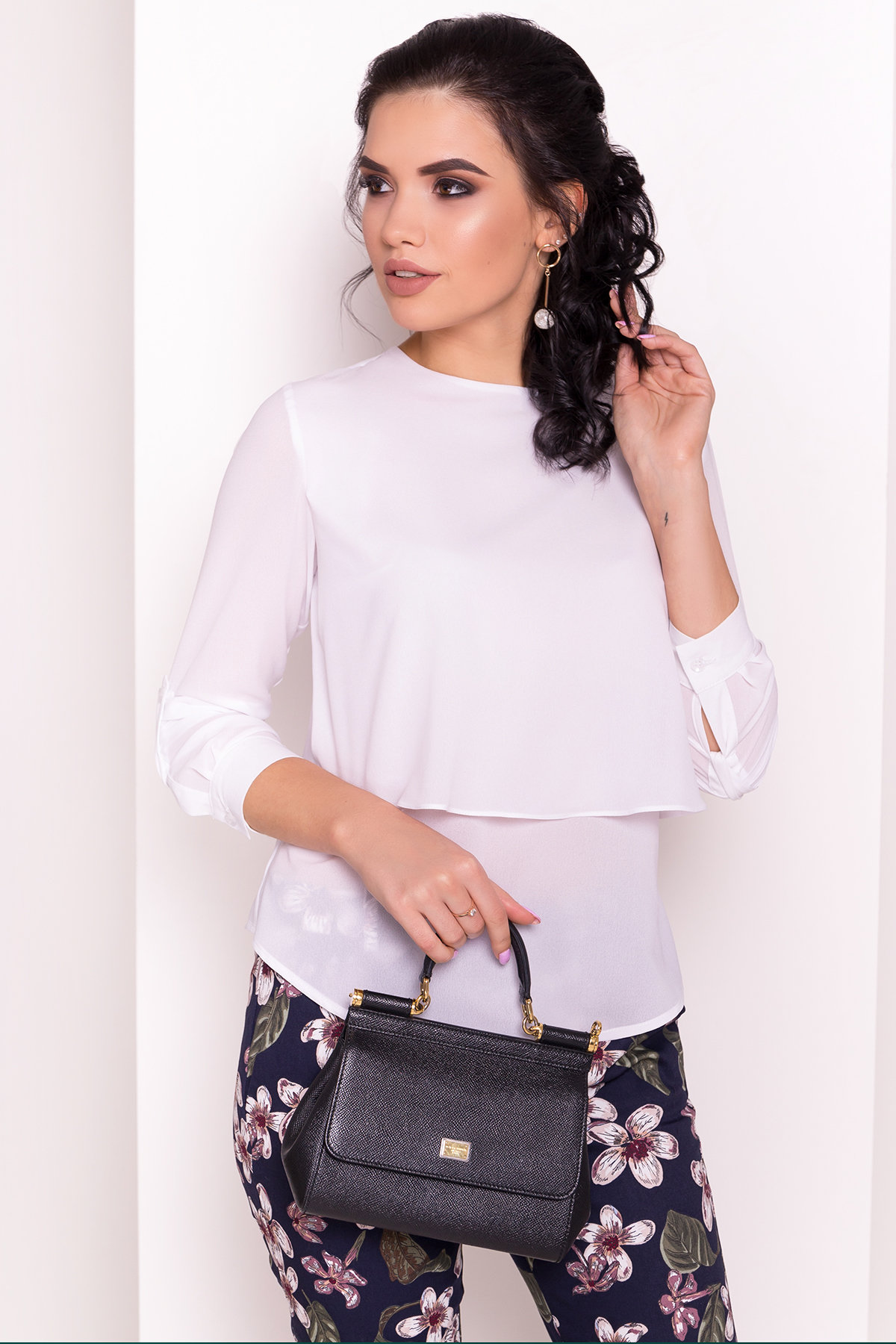 Офисная блузка с длинным рукавом Ноа лайт 5274 Цвет: Белый