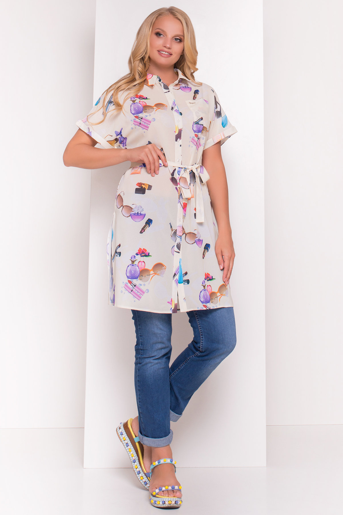 купить платье большого размера TW Платье -рубашка Шиен Donna 5239