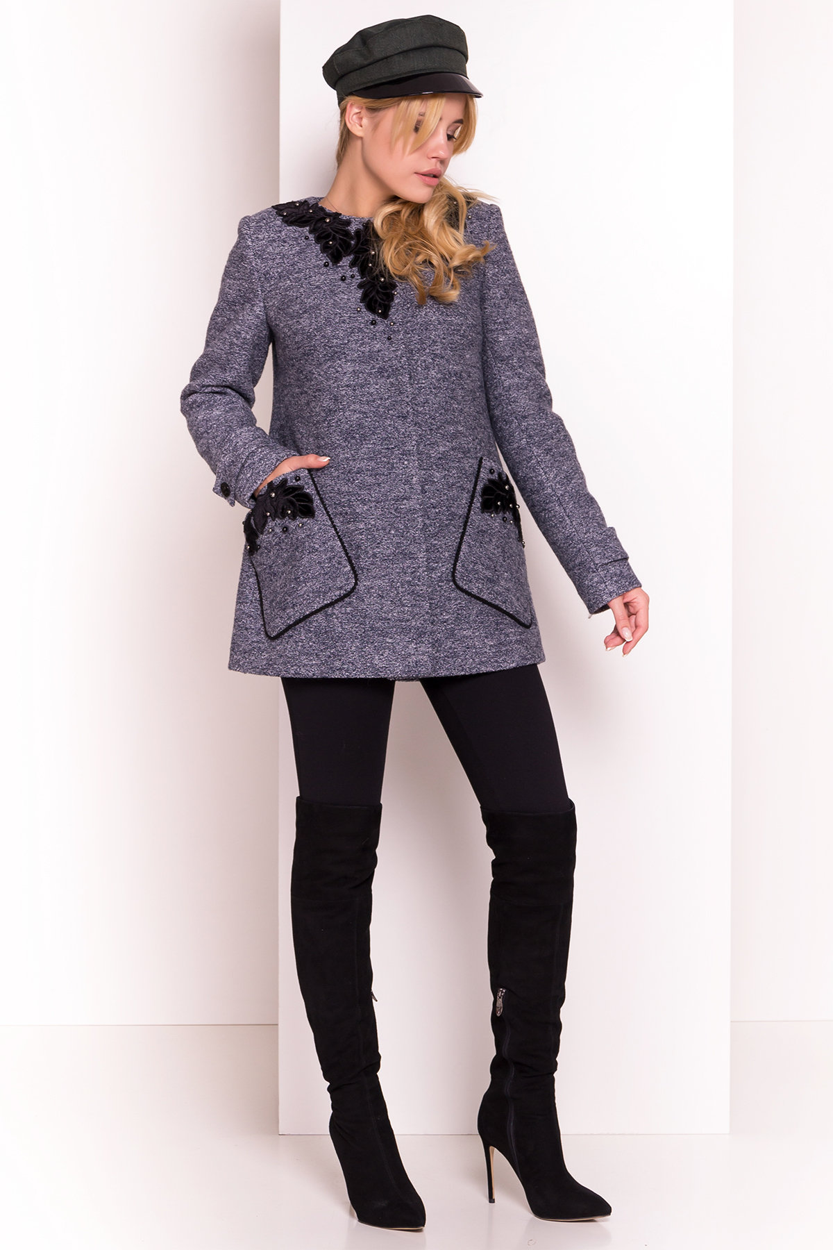 Пальто Латта 5328 АРТ. 36539 Цвет: Серый темный LW-22 - фото 4, интернет магазин tm-modus.ru