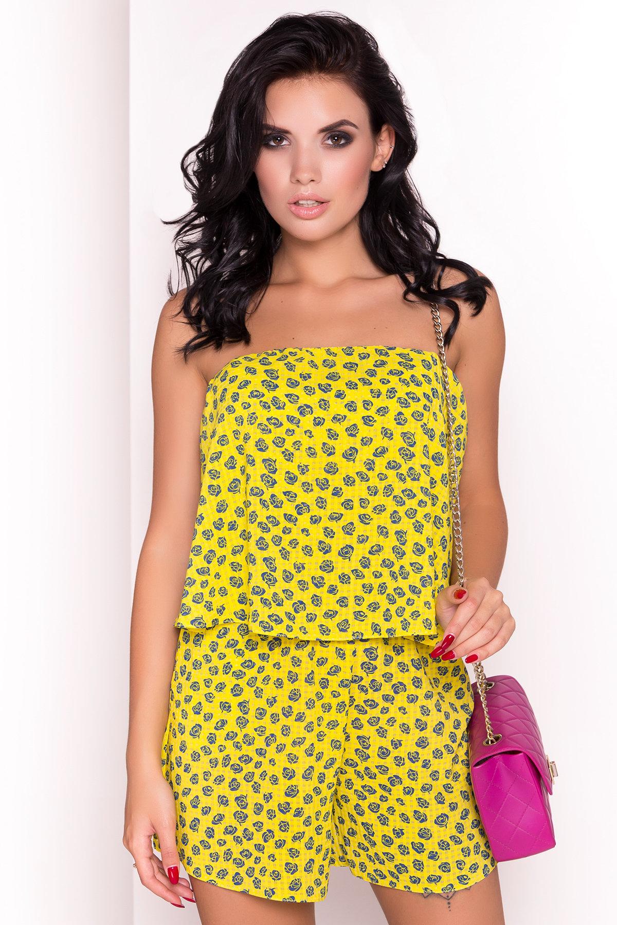 TW Комбинезон Никки 5261 АРТ. 36508 Цвет: Желтый розы темно-синие - фото 2, интернет магазин tm-modus.ru
