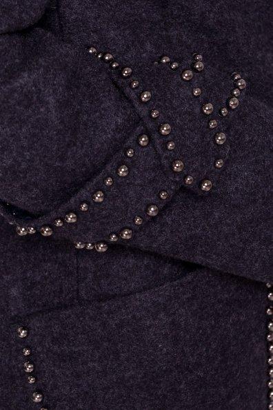 Кашемировое демисезонное пальто с декором Алина 5248 Цвет: Темно-синий
