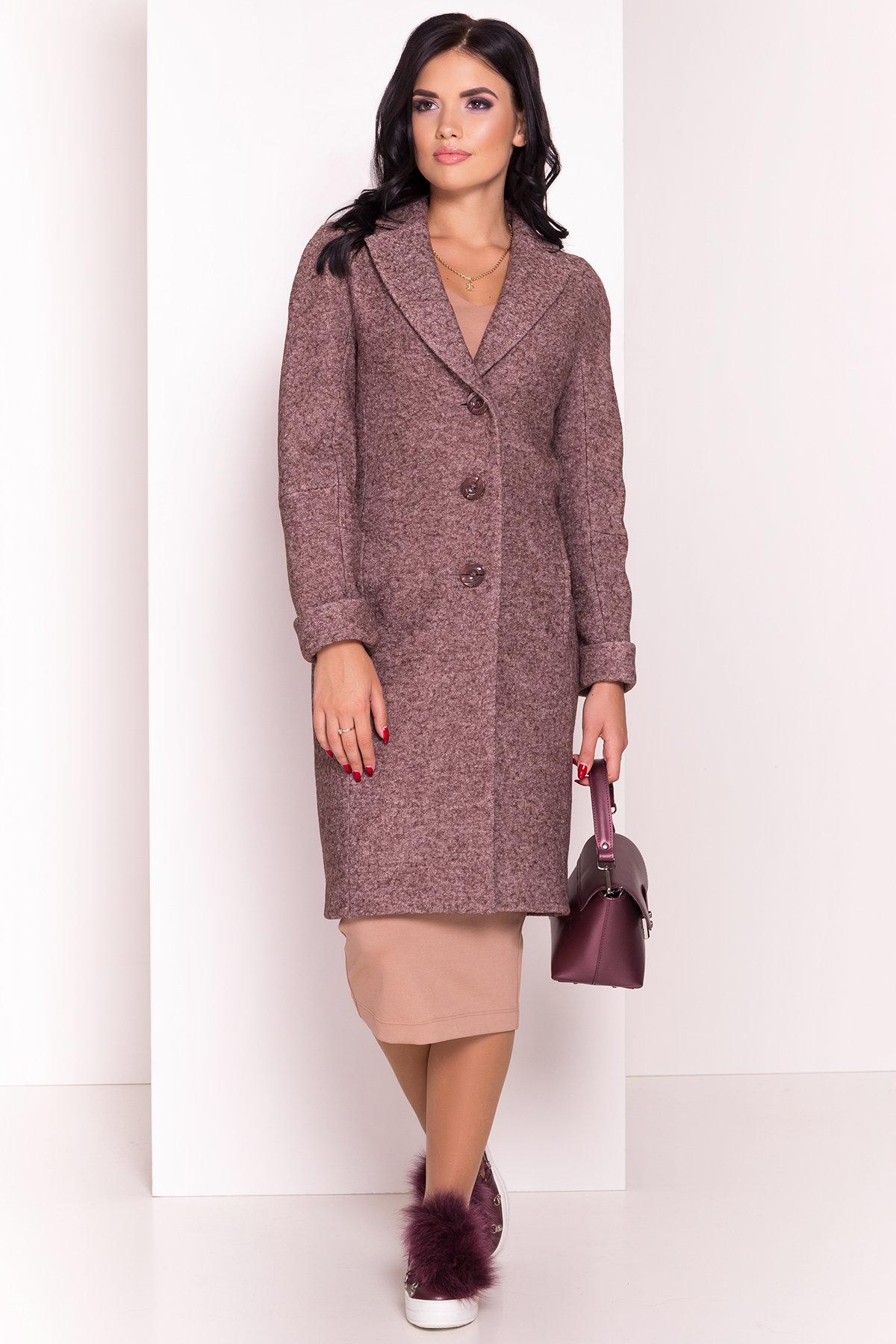 Демисезонное пальто из варенной шерсти с поясом Глорис 4428 Цвет: Кофе LW-4