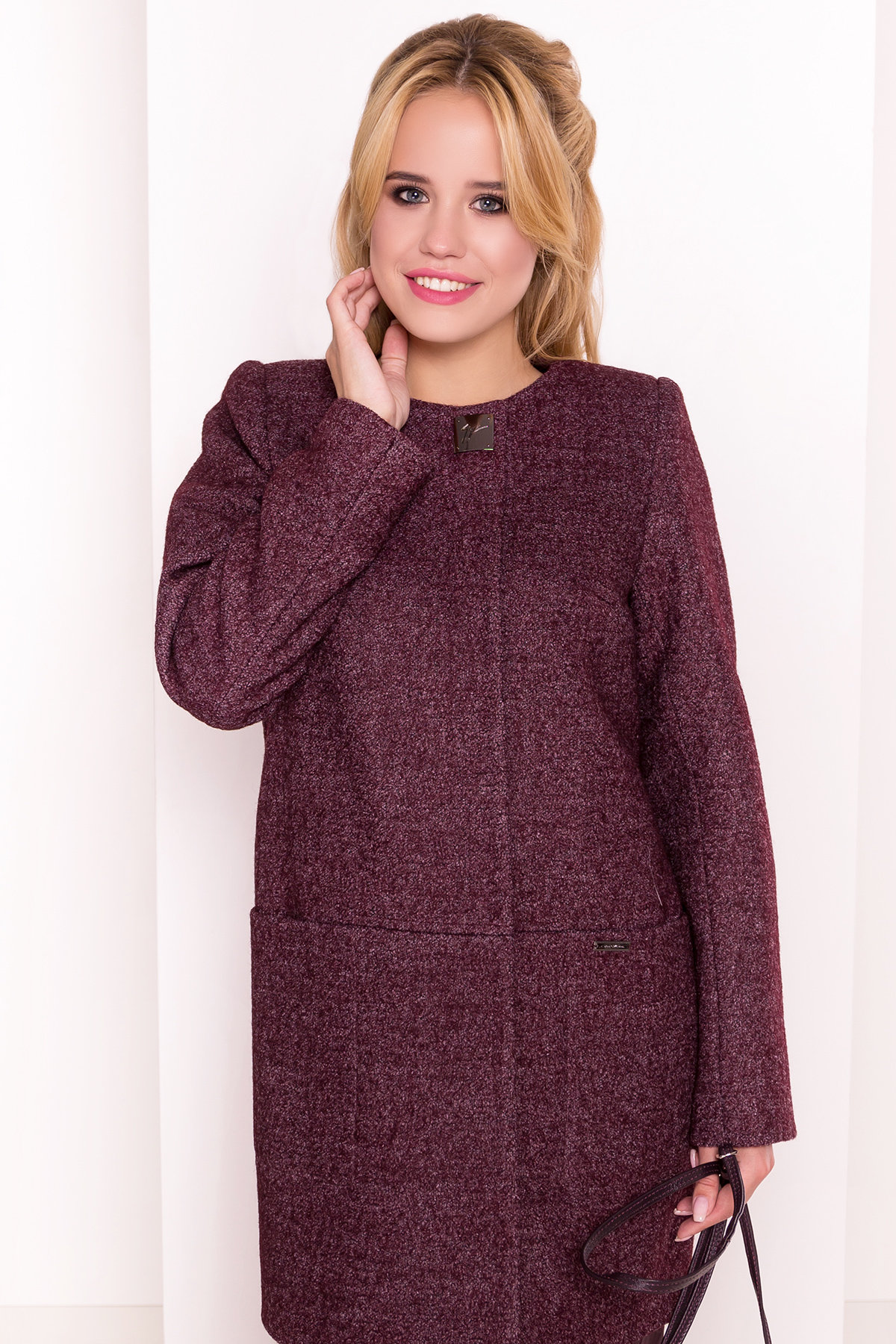 Пальто на весну Дакс 1679 АРТ. 16668 Цвет: Марсала - фото 3, интернет магазин tm-modus.ru