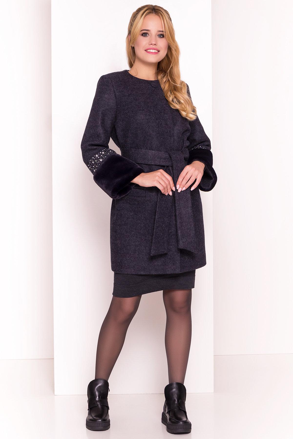 Пальто Амелия 4396 АРТ. 21450 Цвет: Темно-синий - фото 3, интернет магазин tm-modus.ru