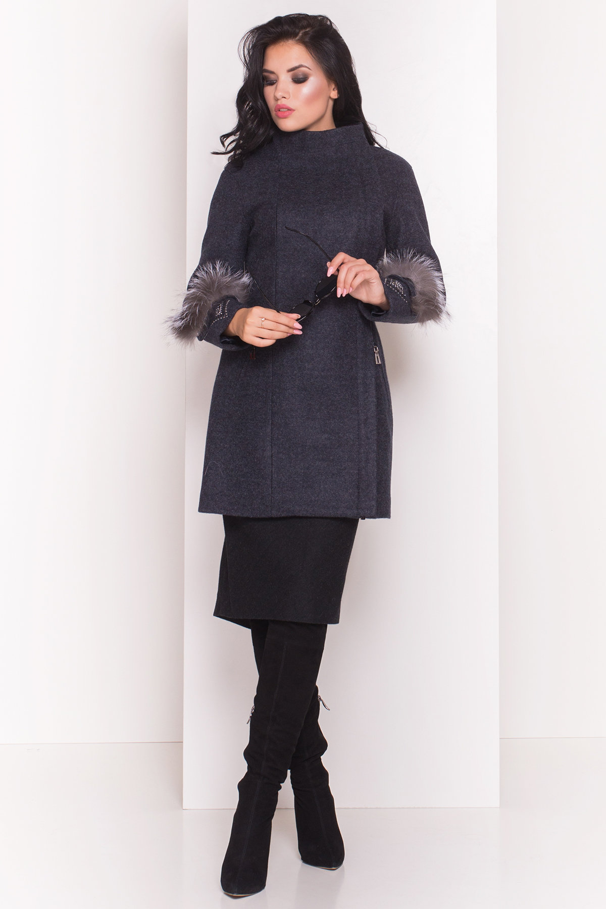 Пальто Лорин 4478 АРТ. 21567 Цвет: Темно-синий - фото 3, интернет магазин tm-modus.ru