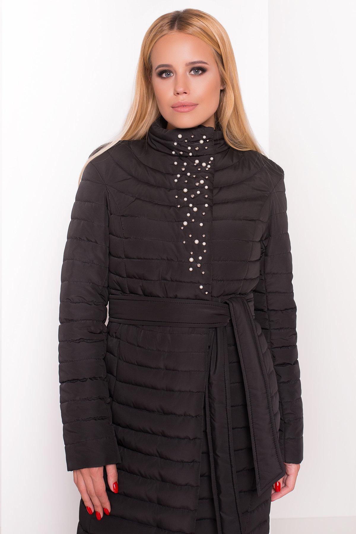 Стильное стеганое пальто Блисс 4520 АРТ. 36585 Цвет: Черный - фото 2, интернет магазин tm-modus.ru