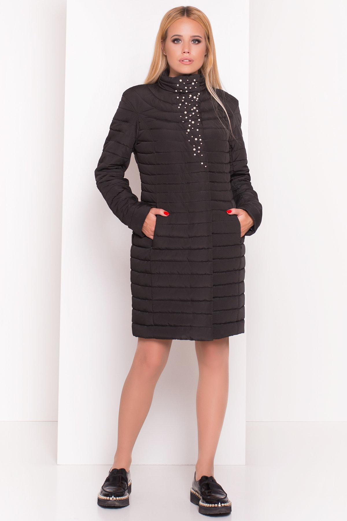 Стильное стеганое пальто Блисс 4520 АРТ. 36585 Цвет: Черный - фото 3, интернет магазин tm-modus.ru
