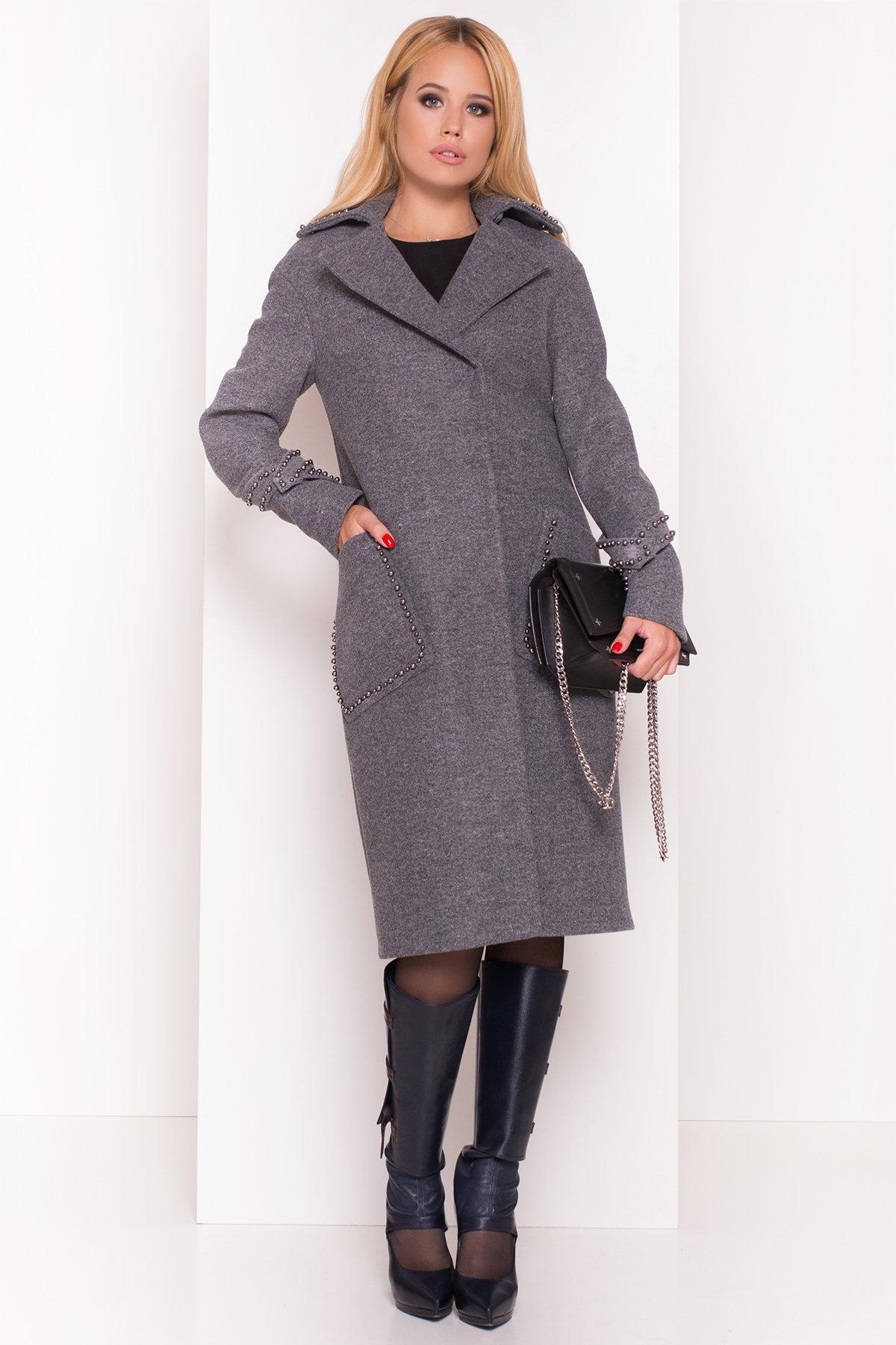 Кашемировое демисезонное пальто с декором Алина 5248 АРТ. 36624 Цвет: Серый Темный - фото 2, интернет магазин tm-modus.ru