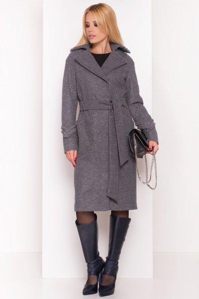 Кашемировое демисезонное пальто с декором Алина 5248 Цвет: Серый Темный