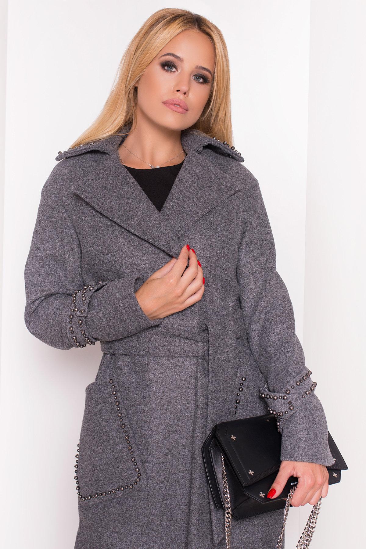 Кашемировое демисезонное пальто с декором Алина 5248 АРТ. 36624 Цвет: Серый Темный - фото 4, интернет магазин tm-modus.ru