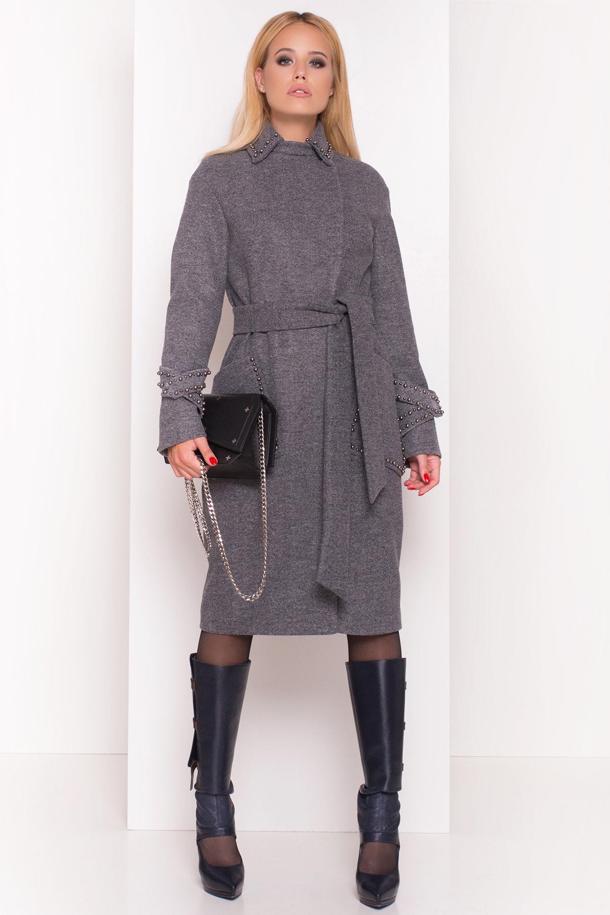Кашемировое демисезонное пальто с декором Алина 5248 АРТ. 36624 Цвет: Серый Темный - фото 5, интернет магазин tm-modus.ru