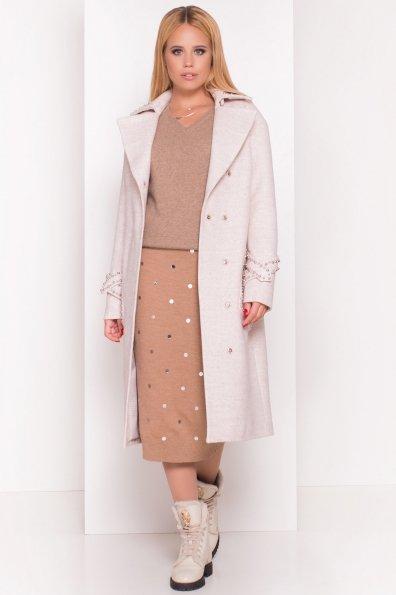 Кашемировое демисезонное пальто с декором Алина 5248 Цвет: Бежевый