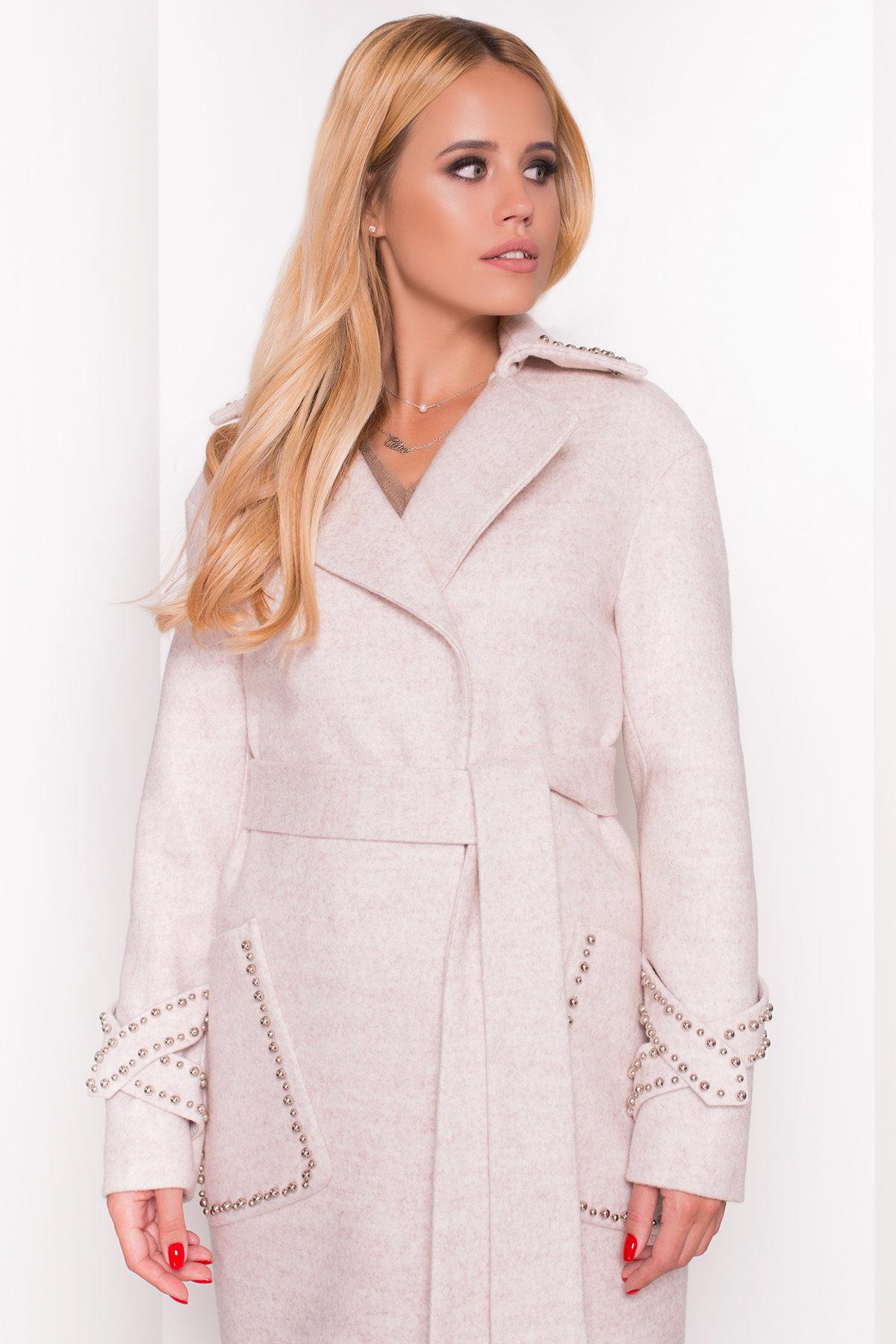 Кашемировое демисезонное пальто с декором Алина 5248 АРТ. 36621 Цвет: Бежевый - фото 3, интернет магазин tm-modus.ru