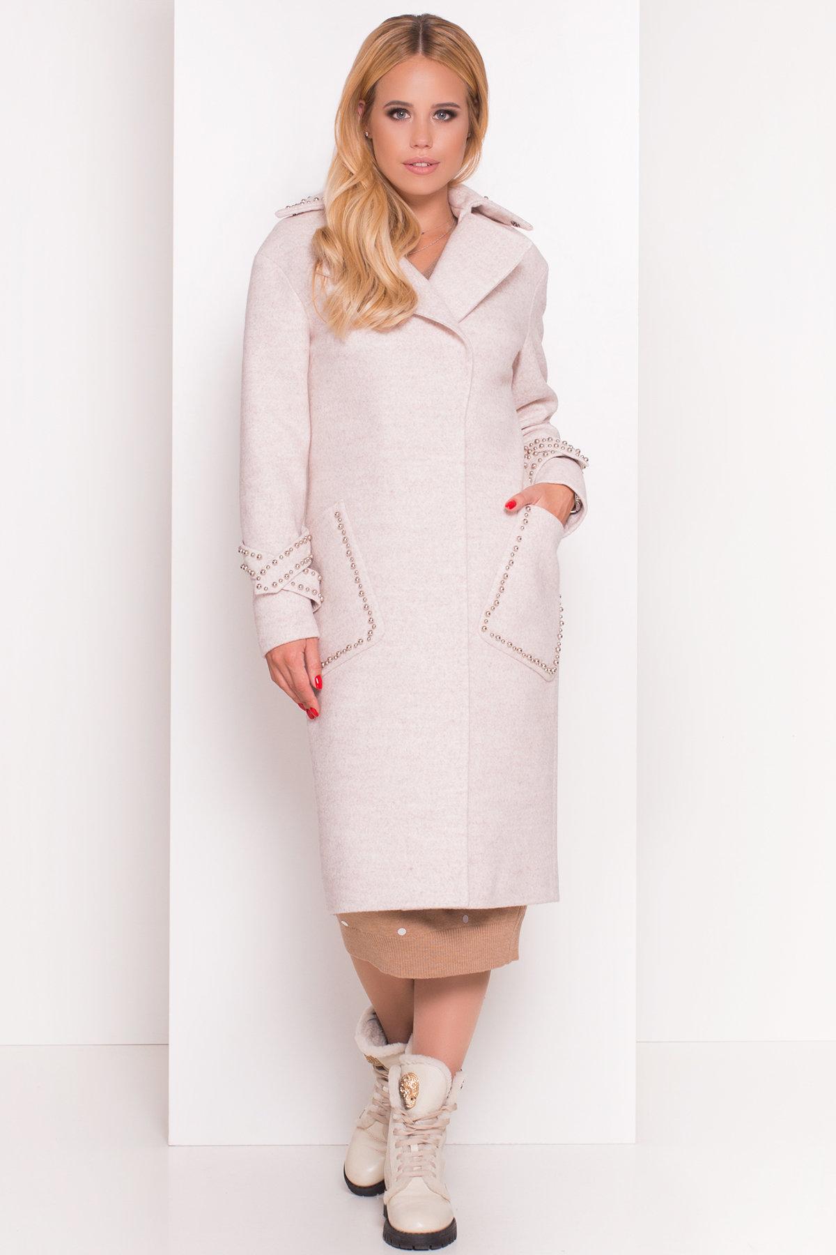 Кашемировое демисезонное пальто с декором Алина 5248 АРТ. 36621 Цвет: Бежевый - фото 2, интернет магазин tm-modus.ru