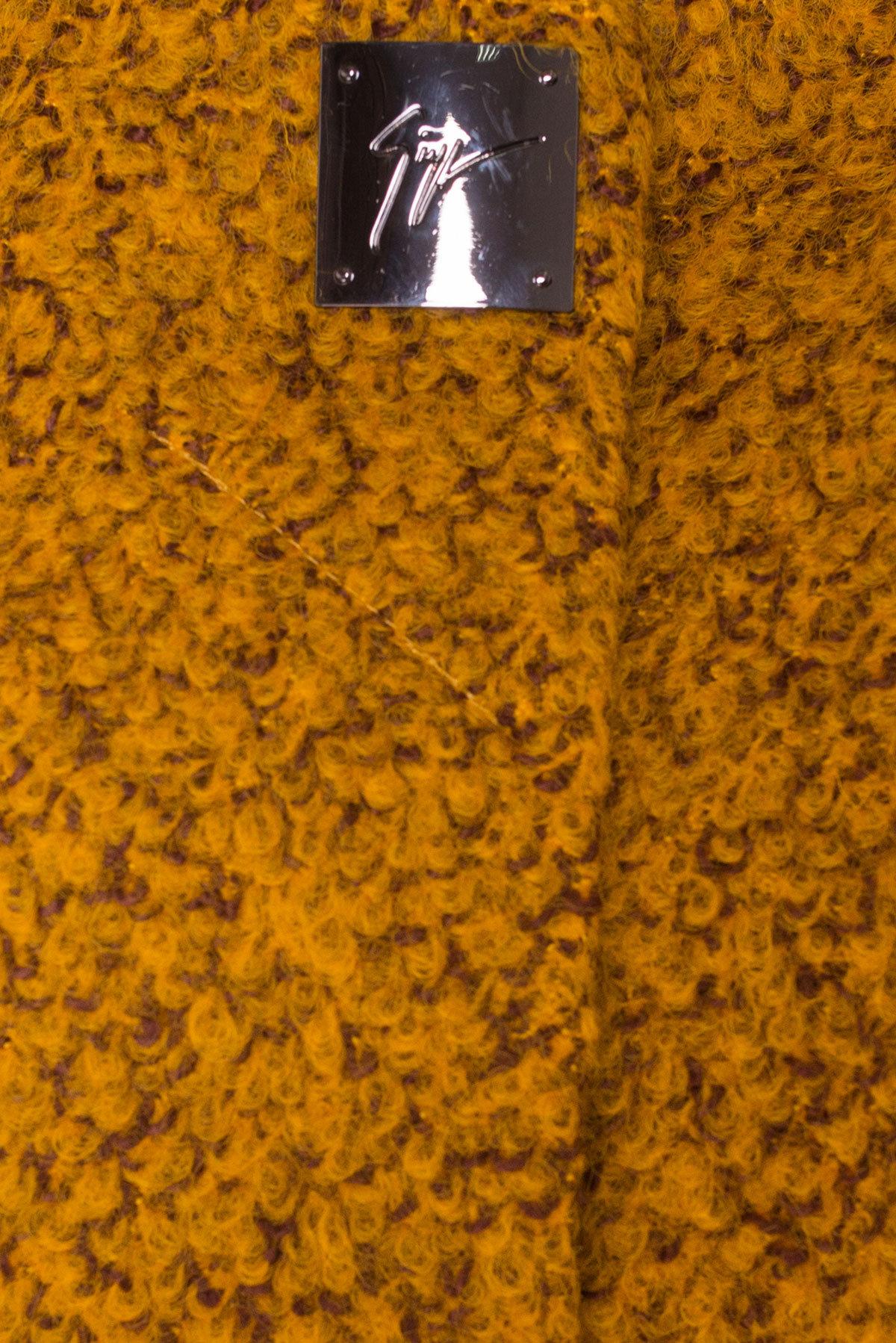 Пальто Фортуна 0904 Цвет: Горчица/шоколад