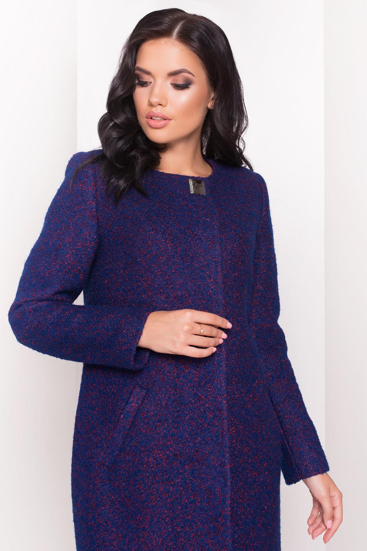 Пальто Фортуна 0904 Цвет: Тёмно-синий/марсал