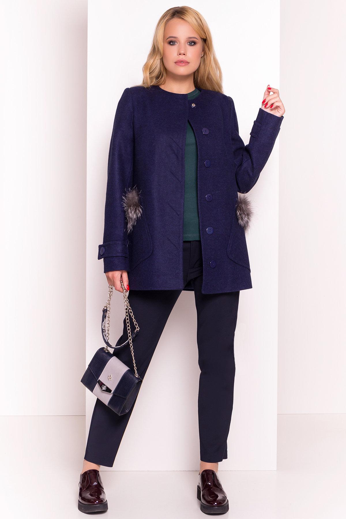 Демисезонное пальто трапеция в расцветках Латте 5429 АРТ. 36672 Цвет: Темно-синий 17 - фото 1, интернет магазин tm-modus.ru